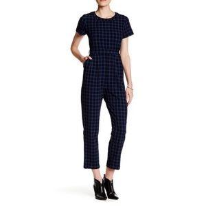 Mo:vint jumpsuit blue plaid short sleeves medium
